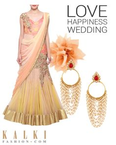 This wedding season gear up your wardrobe with this saree gown and earring. Shop at kalkifashion.com