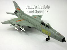 """1:48 Scale Metal Die-Cast – Chengdu J-7G – Length: 11.5"""" Wingspan:7"""" This J-7G model is a single seat version. The landing gear is fixed in the extended position and the box includes a metal stand whe"""