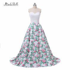 modabelle Floral Print Pink Long Prom Evening Dress Women Vestidos De Festa 2018 Real Photos Sweetheart Beaded Formal Gowns