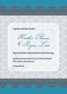 Lace Damask Wedding Invitation