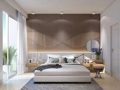 Quarto para inspirar✨Painel iluminado da cabeçeira da cama e criado mudo de madeira se destacam👏😍
