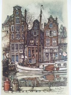 Amsterdam, Prinsengracht by Anton Pieck. My birthplace new Prinsengracht, on an arch. Anton Pieck, Paintings I Love, Oil Paintings, Dutch Painters, Dutch Artists, Gravure, Cute Art, Netherlands, Illustrators