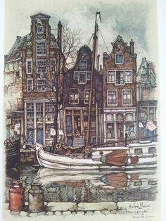 Amsterdam, Prinsengracht by Anton Pieck. My birthplace new Prinsengracht, on an arch...