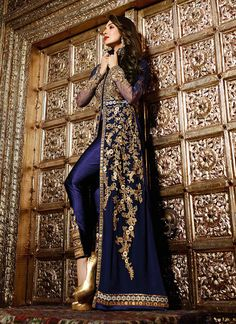 Buy Malaika Arora Khan Resham Work Navy Blue Designer Suit in UK, USA and Canada
