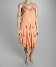 This Peach Embroidered Asymmetrical-Hem Shift Dress - Plus by Highness NYC is perfect! #zulilyfinds