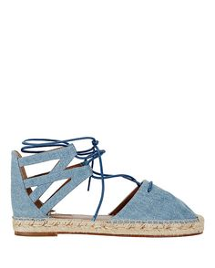 Aquazzura Belgravia Denim Espadrille: One of our favorite ways to work a denim into our look is with a flat espadrille. Lace-up. Back heel. Leather insole and outsole. In light blue jean.   Made in ...