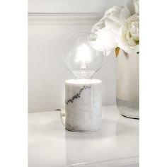 Watch Hill 4'' Camila Marble Table Lamp (Cream), White