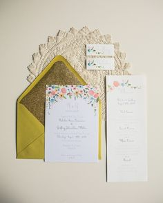 vintage floral wedding stationery // photo by Studio Finch, design by Twigs and Lace // View more: http://ruffledblog.com/crochet-and-aqua-inspiration/
