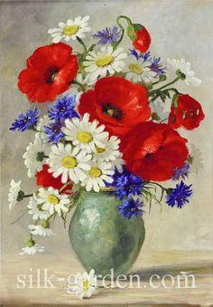 Maria Tilipaul-Kistler — Still Life with Meadow Flowers Art Floral, Oil Painting Flowers, Watercolor Paintings, Gouache Painting, Flower Prints, Flower Art, Art Folder, Acrylic Art, Vintage Flowers
