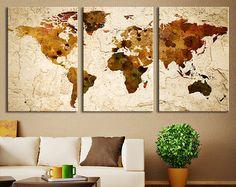 Impresión del arte de la lona de la mapa de mundo, mundo del arte de pared grande mapa arte, impresión de mapa mundo Multipanel Extra grande para el hogar y la decoración de la pared de oficina ◆ TAMAÑO Cada tamaño de Panel: 10 x 24 = área Total de aplicación de Panel 5 50 x 24 = $ 145,00 Cada tamaño del Panel: 12 x 32 = área Total de aplicación de Panel 5 60 x 32 = $ 195,00 Cada tamaño de Panel: 16 x 40 = área Total de aplicación de Panel 5 80 x 40 = $ 310,00 ◆ INFORMACIÓN GENERAL ♥ 3...