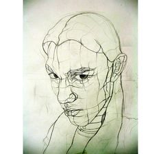 Cross-contour line drawings by Aaron Earley: graphite lines of various weights trace over the contours of the face, clearly conveying emotion, despite the lack of tone and detail.