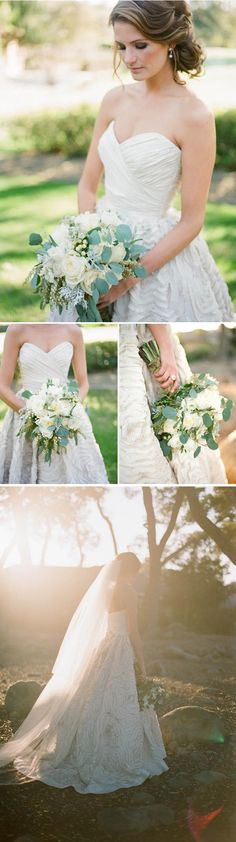 Perfection. My dream dress, David Austin garden roses, dusty miller.