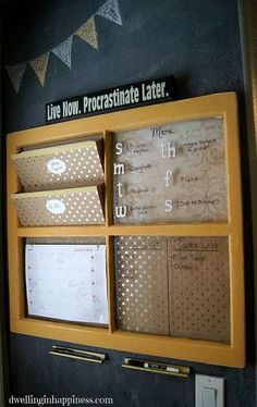 DIY command center window frame upcycle