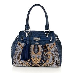 Sharif Tapestry and Hornback Croco-Embossed Leather Satchel