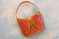 Tooled Leather Purse - Moon and Stars Large Cutwork Pink and Brown Shoulder Bag