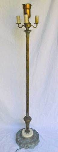 Antique 1930s Torchiere Candelabra Floor Lamp Art Deco Regency Marble Base