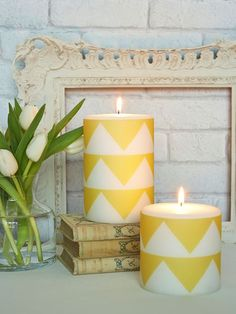 Rather than simply being printed directly onto the candle, which would mean the pattern would be lost very quickly, the zig zags are printed on a special parchment casing which, as the candle burns down, reflects the candlelight through the casing beautifully!