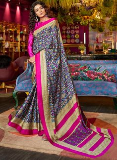 Multicoloured Printed Satin Crepe Saree With Blouse Piece by Sourgrape's Online - Online shopping for Sarees on MyShopPrime - Latest Sarees Online, Indian Sarees Online, Designer Sarees Online, Crepe Saree, Satin Saree, Silk Sarees, Floral Print Sarees, Printed Sarees, Fancy Sarees