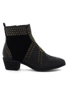 Stacked Heel Studded Ankle Bootie in Black - Shoes - Goods - Retro, Indie and Unique Fashion