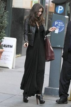 Miranda Kerr wearing Celine Cabas Tote, Balenciaga Quilted Motorcycle Jacket, Azzedine Alaia Fall 2011 Lace-Up Ankle Boots and Willow V-Neck Cap Sleeved Maxi Dress. All Black Fashion, Star Fashion, Celine, Street Chic, Street Style, Miranda Kerr Style, Balenciaga, Victoria's Secret, Leather Dresses