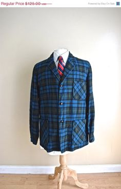 On Sale Vintage 1960s Mens Plaid Pendleton 49er Jacket For Men