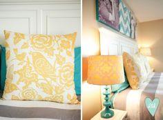 Mustard, Teal & Grey Master Bedroom. DesignLovesDetail.com