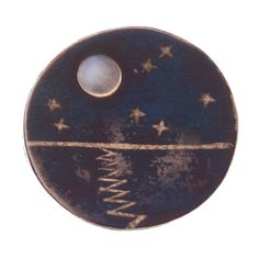 Rare Brooch  of the Moon and Stars by Los Castillo--sterling silver, copper, and moonstone, 1950s