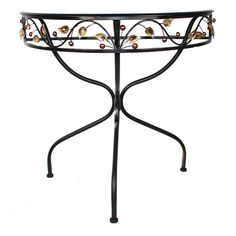 Demilune metal table with a curved base and colored stone accents.  Product: TableConstruction Material: Metal and st...