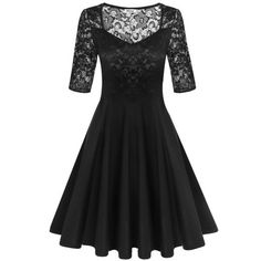 Dresslink - Dresslink Black Pleated V-neck Lace Patchwork Hollow Swing Party Dress - AdoreWe.com