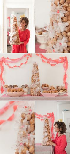 Donut Hole Croquembouche DIY (Fancy Donut Party- Fun alternative to birthday cake or for a celebratory brunch.)