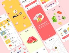 UI KIT FROOTS / Organic Store App by Maruraik on @creativemarket Application Design, Mobile Application, Web Design, Logo Design, Design Ideas, Graphic Design, Card Ui, Coloring Apps, Ecommerce Store