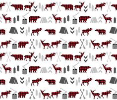 Buffalo Plaid Woodland Friends Quilting Fabric. by JacksonsWovens