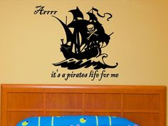 Etsy listing at http://www.etsy.com/listing/79741867/childrens-bedroom-pirate-ship-wall-decal