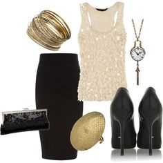 New Years Eve Outfit Clock Necklace. I would use red pumps and a red necklace for this outfit.