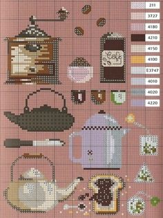 cross stitch coffee grinder, tea pot, etc.