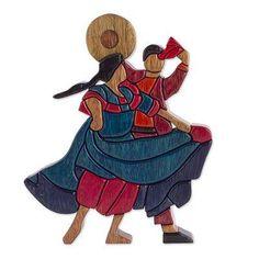 Fair Trade Romantic Wood Sculpture - Dance and Flirt | NOVICA