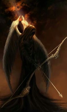 Angel of Death ❤ Grim Reaper Art, Grim Reaper Tattoo, Ange Demon, Demon Art, Angel Warrior, Fantasy Warrior, Dark Fantasy Art, Dark Art, Angels And Demons