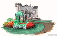 Acuarela del casino de Spa en Bélgica. Somos viajeros.