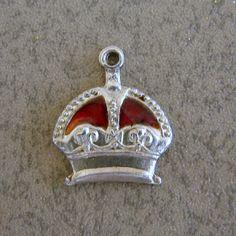 Vintage Sterling Silver Royal Queen King Crown Red Enamel Bracelet Charm #Charms