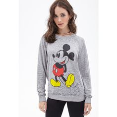 Forever 21 Women's  Mickey Mouse Burnout Pullover ($15) ❤ liked on Polyvore featuring tops, hoodies, sweatshirts, forever 21 - 1, shirts, sweatshirt, burnout shirt, forever 21 shirts, mickey mouse sweatshirt and holiday sweatshirts