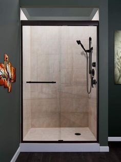 Miseno Azul High x Wide Frameless Sliding Shower Door with Clea Oil Rubbed Bronze Showers Shower Doors Sliding - September 14 2019 at Framed Shower Door, Glass Shower Doors, Bathroom Doors, Glass Doors, Budget Bathroom, Bathroom Renovations, Frameless Sliding Shower Doors, Sliding Doors, Screen Design