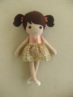 Fabric Doll Rag Doll Brown Haired Girl in Blush by rovingovine