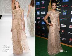 Priyanka Chopra In Monique Lhuillier - IIFA Awards - cherry blossom embroidered gown cap sleeve