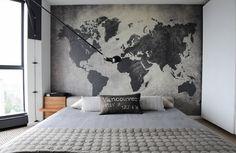 Карта мира - это не только помощник в изучении географии, но еще и стильный элемент декора для Вашего дома. 20 вдохновляющих примеров интерьерных карт...