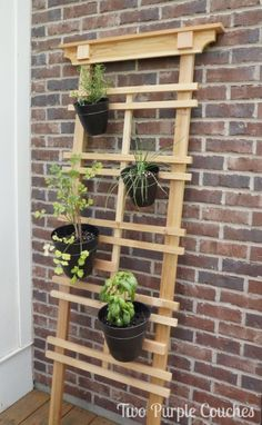 Easy Weekend Project Idea! Make a simply and stunning vertical herb or flower garden with a ready-made trellis, pots and wire. #verticalgardening #herbgardening