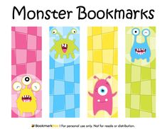 Free printable monster bookmarks in PDF format. The template includes four different bookmark designs per page. Free Printable Bookmarks, Bookmark Template, Diy Bookmarks, Free Printables, Monster Bookmark, Disney Planner, Holiday Themes, Writing Paper, Hobbies And Crafts