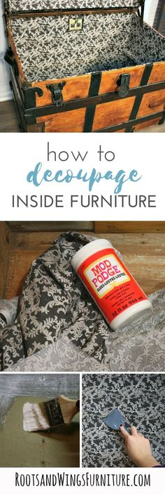 How to clean up a musty trunk by recovering the inside of it.  Step by step tutorial by Jenni of Roots and Wings Furniture.