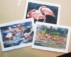 Flamingo - flamingo art, watercolor prints, set of 3 Note Cards handmade Pink, Watercolor Artists, Watercolor Print, Watercolor Paper, Watercolor Paintings, Watercolors, 6 Images, Flamingo Art, Tropical Birds, Scripture Art