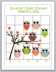 Printable Baby Shower Bingo Game Owl Theme by BellaEventDesigns