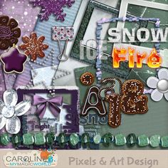 This Winter and Xmas kit includes :  - 7 papers - 4 frames - 4 WordArts - 2 cakes - 1 paperclip - 5 flowers and stars - 1 knot - 1 necklace - 1 complete cake alpha, including 78 pieces (Uppers, Lowers, Punctuations and Numbers) - 1 double paintchip.